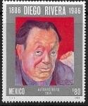 Stamps : America : Mexico :  Autorretrato de Diego Rivera
