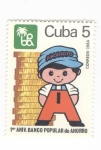 de America - Cuba -  Primer aniversario Banco popular de ahorro