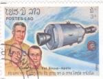 Stamps of the world : Laos :  Aniversario vuelo Soyuz-Apolo