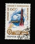 Sellos del Mundo : Europa : Rusia : 60 aniv. de la sede de cosmonática