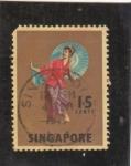 Stamps : Asia : Singapore :  traje típico