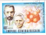 Stamps Central African Republic -  Pierre y Marie Curie- premio Nobel de Física