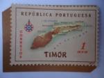 Stamps Asia - East Timor -  Mapa de Timor Oriental-Colonia de Portugal.