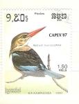 Sellos del Mundo : Asia : Camboya : halcyon leucocephala