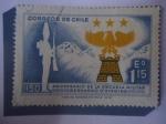 Sellos de America - Chile -  150 Aniversario de la Escuela  Militar Bernardo O´Higgin 1822-1972 - Soldado del año 1822.- Emblemag