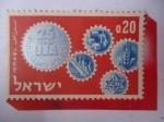 Sellos del Mundo : Asia : Israel : 20 Aniversario del llamamiento Judío Unificado - Ruedas Dentadas Simbólicas.