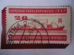 de Europa - Alemania -  Alemania, Rep. Democrática - Barco de Carga con Motor - Feria de Primavera de Leipziger 1957