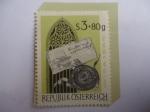 de Europa - Austria -  Letras Góticas con Sello y Ventana de Iglesia Gótica - Serie:Exposición de sellos Wipa 1965.