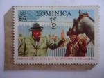 sellos de America - Dominica -  Centenario del Nacimiento Sir Winston Churchill (1874-1974) - Churchill con el caballo de Carrera