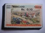 sellos de America - Venezuela -  140° Aniversario de la Batalla de Carabobo, 1821-1961 - Sello Resellado.