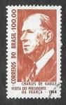 Stamps Brazil -  986 - Visita de Charles de Gaulle a Brasil