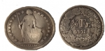 monedas del Mundo : Europa : Suiza :  MEDIO FRANCO DE PLATA