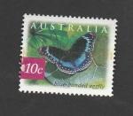 Stamps : Oceania : Australia :  Mariposa bandeada en azul