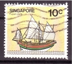 Stamps Singapore -  serie- Barcos