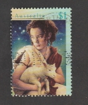Sellos del Mundo : Oceania : Australia : Pastor con oveja en brazos