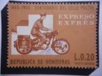 Sellos de America - Honduras -  Centenario del Sello Postal (1865-1965)- Correo Expreso - Cartero Motorizado.