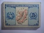 Sellos del Mundo : America : Guatemala : Mapa de Guatemala - Escudo de Armas