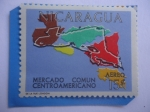 Sellos del Mundo : America : Nicaragua : Mercado Común Centroamericano - Mapa de América Central.