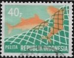 Sellos del Mundo : Asia : Indonesia : V años del Plan de Desarrollo - Piscifactorías