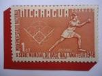 Stamps Nicaragua -  Soft-Ball - X Serie Mundial de Base-Ball Amateur 1948 - Moderno estadio Nacional.
