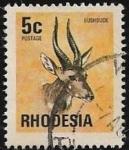 Sellos del Mundo : Africa : Zimbabwe : Bosbok (Tragelaphus scriptus) 1974 5 cent
