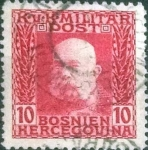 Stamps : Europe : Bosnia_Herzegovina :  Scott#70 , intercambio 0,20 usd , 10 heller , 1912
