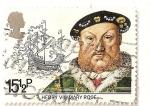Sellos de Europa - Reino Unido -  Rey Enrique VIII y barco Mary Rose.