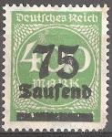 Sellos del Mundo : Europa : Alemania : Numeral.Recargo 75t en 400dm.Imperio alemán.