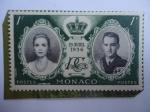 Sellos de Europa - Mónaco -  Rainiero III de Mónaco y Grece Kelly-Corona y Monograma-Serie:Boda de Raniero III y Grace Kelly, 19