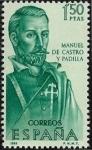 Stamps : Europe : Spain :  Forjadores de América - Manuel de Castro y Padilla  1966 1,50 pts