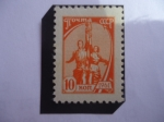 "Stamps : Europe : Russia :  URSS-Escultura ""Obrero y Mujer Kolkhoz""- de Vera Muchina (1889-1953), Escultura Letona - Kolkhoz"