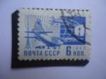 Stamps : Europe : Russia :  URSS- Medios Modernos de Entrega de Correo - Sociedad y Tecnología.