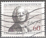 Sellos del Mundo : Europa : Alemania : Bicentenario de la muerte de Christoph Willibald Gluck (compositor).
