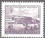 Sellos del Mundo : Europa : Hungría : Edificios del plan quinquenal en Budapest,escuela de enfermería, Szombathely.