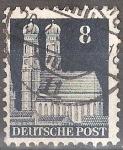 Sellos del Mundo : Europa : Alemania : Frauenkirche, Munich.Zona de Ocupación estadounidenses, británicos.