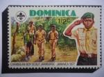 Sellos del Mundo : America : Dominica : 25° Aniversario del Reinado de Elizabeth II - Boy Scout del Caribe, Jamboree - Jamaica 1977.