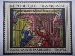 Sellos del Mundo : Europa : Francia : Iglesia de Santa Magdalena-Troyes - Serie: Arte