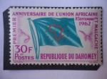 Stamps : Africa : Benin :  Primer Aniversario de la Unión Africana y Malgache - République Du Dahomey - Bandera. D