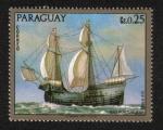 Stamps Paraguay -  Pinturas de antiguos buques de guerra, Nao Portuguesa Siglo XVI