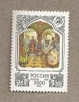 Sellos de Europa - Rusia -  Cuentos de hadas:rey inclinandose mientras sostiene cetro