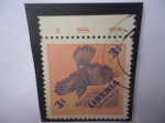 Stamps Liberia -  Roller - Rodillo - (Eurystomus) - Serie: Aves Domésticas)