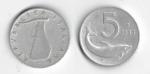 monedas de Europa - Italia -  5 LIRE