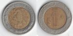 monedas del Mundo : America : México :  1 peso