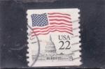 Stamps : America : United_States :  CAPITOLIO Y BANDERA