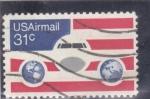 Stamps United States -  AVION Y BANDERA