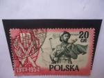 Stamps Poland -  Medalla del 10° Aniversario de la Polonia Popular 1944-1954 - PLR - Soldado Bandera y Mapa.