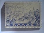 Sellos del Mundo : Europa : Grecia :  Relieve Batalla de Salamina - Primera Reforma Monetaria, posterior a la Segunda Guerra Mundial- Nov.