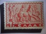 Stamps : Europe : Greece :  Relieve con la Procesión Panathenaic -Juegos Panatenaicos - Serie:Historia Griega.