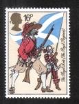 Sellos del Mundo : Europa : Reino_Unido : Uniformes del ejército británico, mosquetero y piquero (The Royal Scots, 1633)