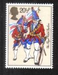 Sellos del Mundo : Europa : Reino_Unido : Uniformes del ejército británico, Real Fusileros Galeses, c1750